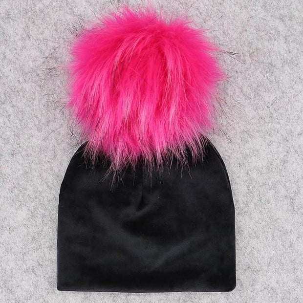 Velvet Beanie with Faux Fur Pom Pom - black 6 / 0-6month -