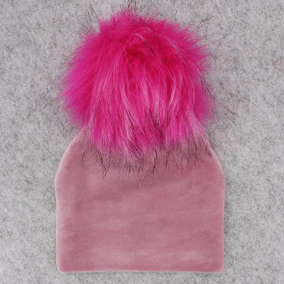 Velvet Beanie with Faux Fur Pom Pom - pink 5 / 0-6month -
