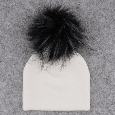 Velvet Beanie with Faux Fur Pom Pom - white 4 / 0-6month -