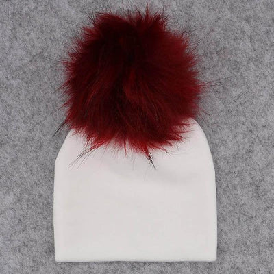 Velvet Beanie with Faux Fur Pom Pom - white 7 / 0-6month -