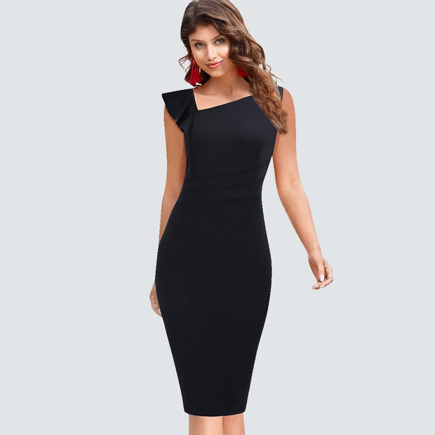 VERLYN - Black Ruffle Shoulder Fitted Dress - women's