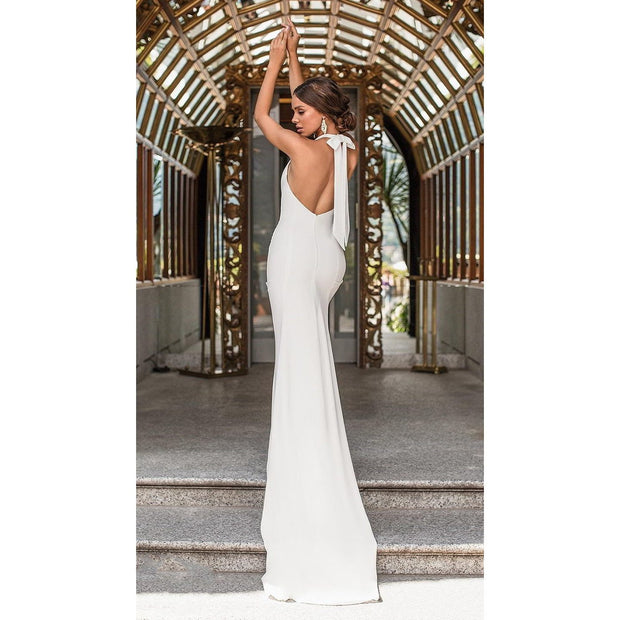 VERN - Satin Backless Halter Neckline Wedding Dress -