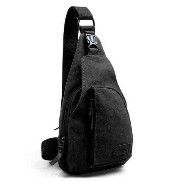 Vintage Canvas Black Sling Bag - Men's Sling Bags