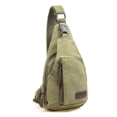 Vintage Canvas Green Sling Bag - Men's Sling Bags