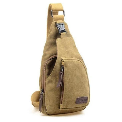 Vintage Canvas Khaki Sling Bag - Men's Sling Bags