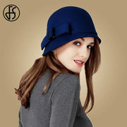Vintage Cloche Hat With Bow and Buckle - Navy Blue Fedora /