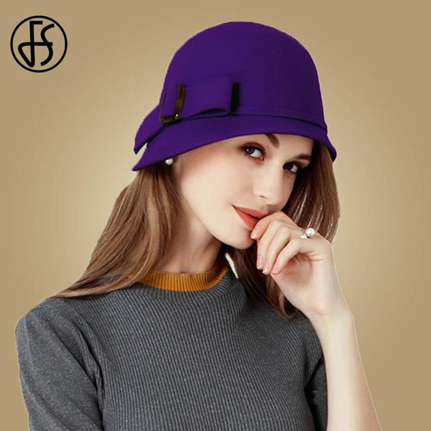 Vintage Cloche Hat With Bow and Buckle - Purple Fedora /
