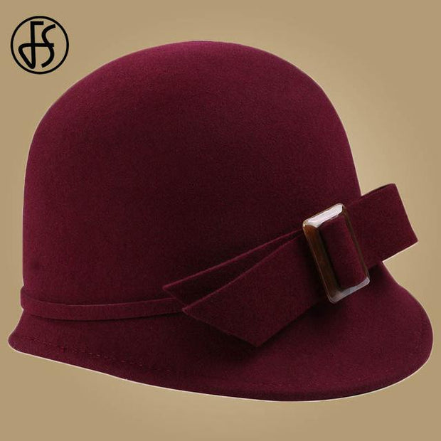 Vintage Cloche Hat With Bow and Buckle - Wine Red Fedora /