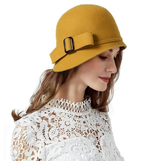 Vintage Cloche Hat With Bow and Buckle - Yellow Fedora /
