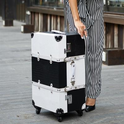 Vintage Colorblock Suitcase - white and black / 14 -