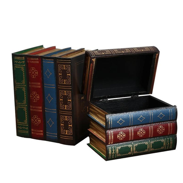 Vintage Wooden Books Storage Box - Storage