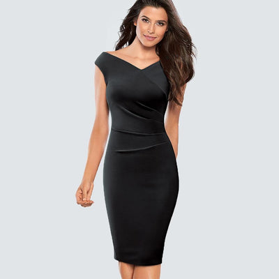 VIVI - Black Fitted Sheath Dress - women's clothing