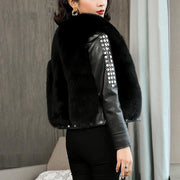 Vivian- Fur and Leather Bomber Jacket - black / S - WOMEN'S