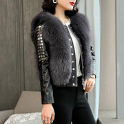 Vivian- Fur and Leather Bomber Jacket - gray / M - WOMEN'S