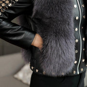 Vivian- Fur and Leather Bomber Jacket - WOMEN'S COATS