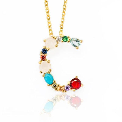 WALLACE - Gold Multicolor Crystal Embellished Letter C