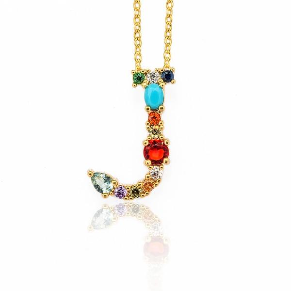 WALLACE - Gold Multicolor Crystal Embellished Letter J
