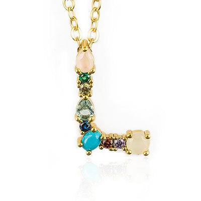 WALLACE - Gold Multicolor Crystal Embellished Letter L