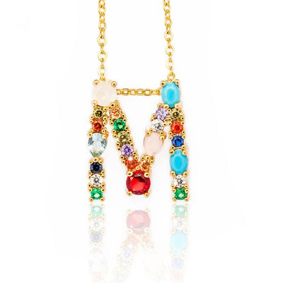 WALLACE - Gold Multicolor Crystal Embellished Letter M