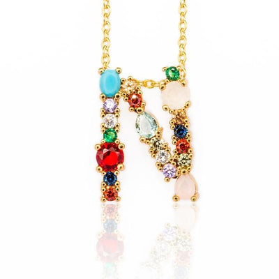 WALLACE - Gold Multicolor Crystal Embellished Letter N