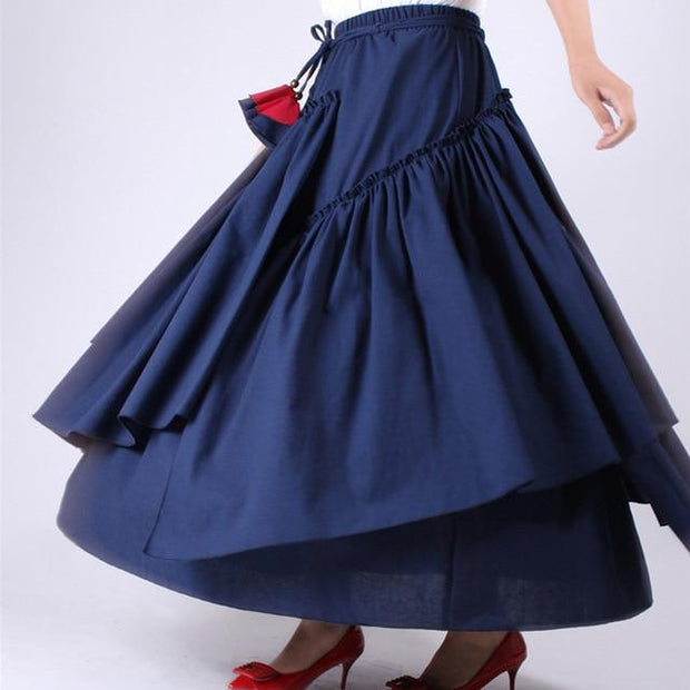 WHITNEY - Blue High Waist Ruffle Skirt - blue / L - women's