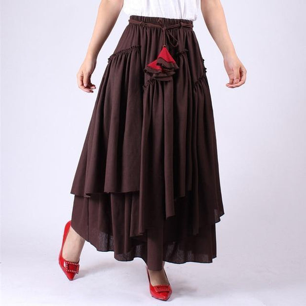 WHITNEY - Brown High Waist Ruffle Skirt - Coffee color / M -