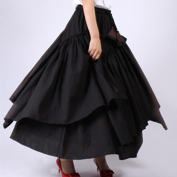 WHITNEY - High Waist Black Ruffle Skirt - black / L -