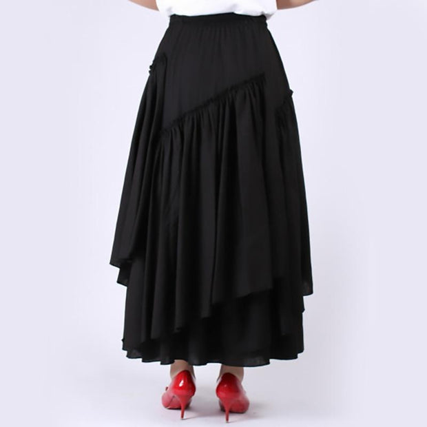 WHITNEY - High Waist Black Ruffle Skirt - women's skirts