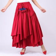 WHITNEY - Red High Waist Ruffle Skirt - wine red / M -
