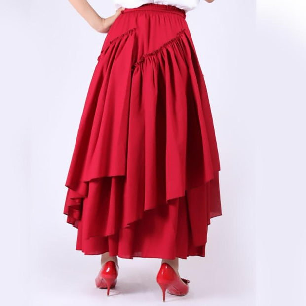 WHITNEY - Red High Waist Ruffle Skirt - women's skirts