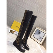 Women's Black Ff Motif Thigh-high Boots - WOMEN'S SHOES