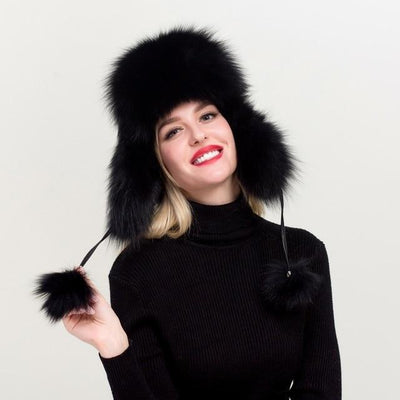 Women's Genuine Black Fox Fur Trapper Hat - Women's Winter
