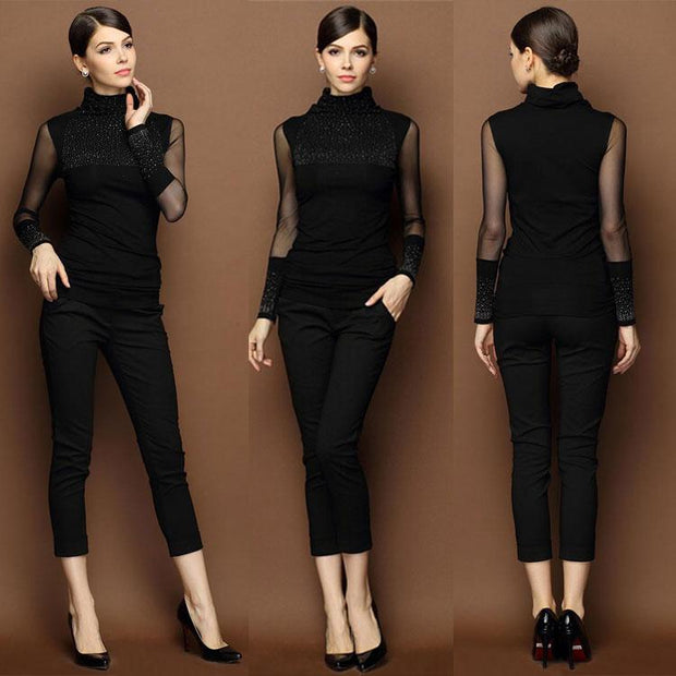 Women's Transparent sleeve Blouse with Beading on Chest and