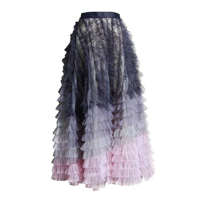 YANETTE - Multicolor Mesh Skirt - picture color / M -