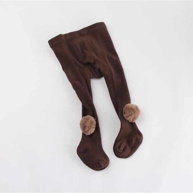 Young Stars Pom Pom Tights - coffee / 6m to 12m - Children's