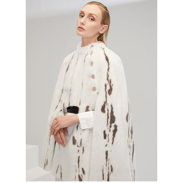 Zariah - Mink Fur Striped Poncho - WOMEN'S COATS