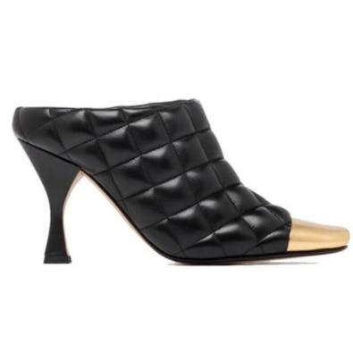 ZENDAYA - Black Quilted Leather High Heel Mules - black / 34