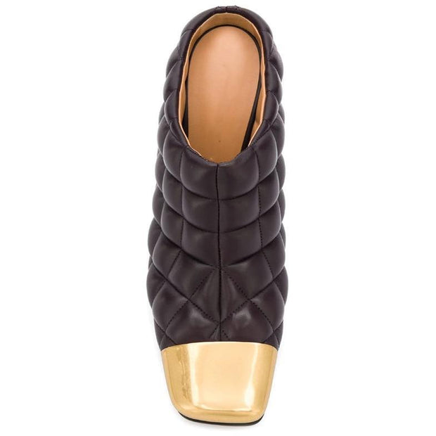 ZENDAYA - Black Quilted Leather High Heel Mules - women's