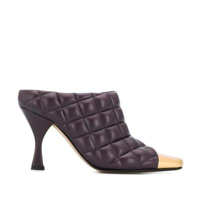 ZENDAYA - Brown Quilted Leather High Heel Mules - brown / 34