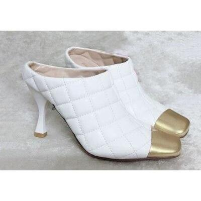 ZENDAYA - Quilted Leather High Heel Mules - white / 39 -