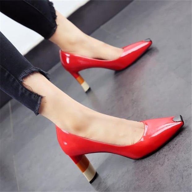 ZOEY - Multicolor Heel Shoes - Red / 6 - women's Shoes