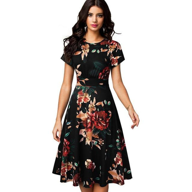 ZUNIE -Floral Print Short Sleeve Midi Dress - Floral / L -