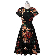 ZUNIE -Floral Print Short Sleeve Midi Dress - women's