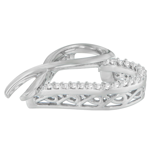 Sterling Silver 1/4ct TDW Round Cut Diamond Ribbon