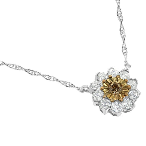 Two Tone 1/2ct Diamond Flower Sterling Silver Necklace