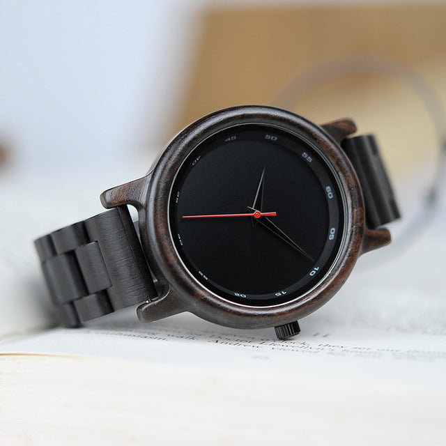 All Ebony Wooden Watch Simple Black