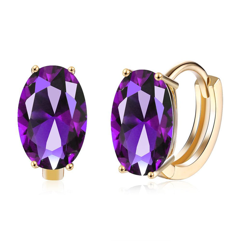 1.00 Ct Amethyst Oval Cut Huggie Earring in 18K Gold Plated