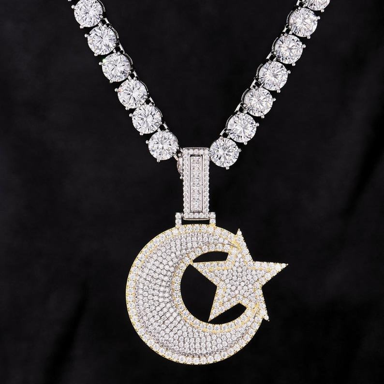 iced-out-half-crescent-moon-925-sterling-silver-pendant-for-men-dripwatch.store