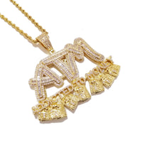 Iced Out Addicted To Money ATM Letters Pendant