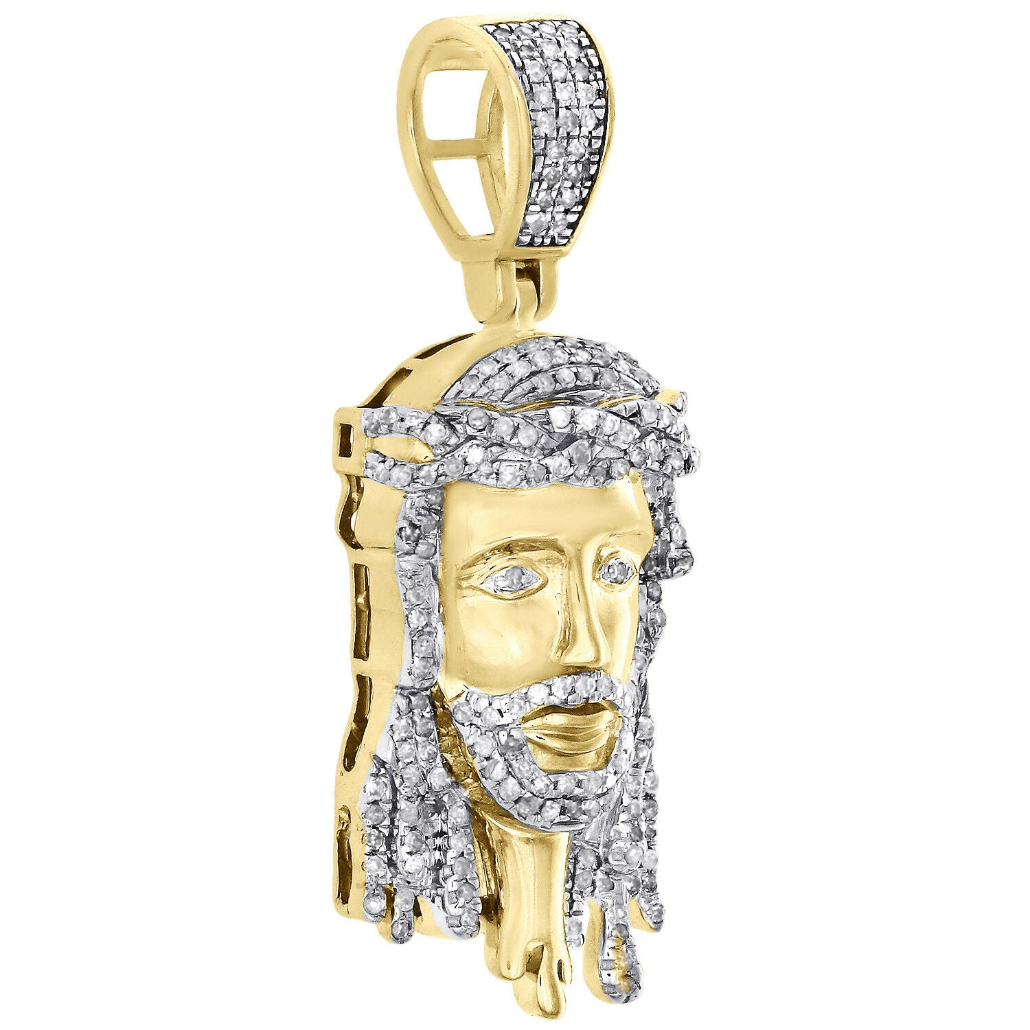 10K Yellow Gold 1/2 CT Pave Diamond Jesus Face Drip Pendant 1.55""